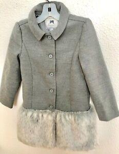JANIE AND JACK  Fur Trim Grey  Winter Coat girls 6