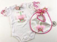 Bearington Baby 12 M Pink Girl 1st Birthday Cupcake Romper One Piece & Bib NWT