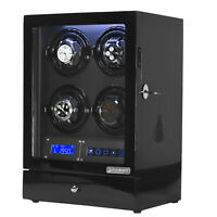 Arcanent 4 + 2 Slot Watch Winder LCD Digital Black Quality Made w/ Ball Bearings