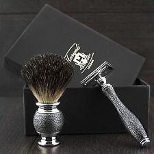 Para Hombre Afeitado Set Kit Doble Borde Seguridad Maquinilla de afeitar, pelo de tejón brocha de afeitar +5 Hojas