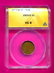1922 D LINCOLN WHEAT CENT VG 8 ANACS WHEAT CENT AUTHENTICATED