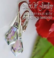 925 Silver Earrings Paradise Shine AB Teardrop 15mm Crystals From Swarovski®