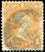 Canada #23 used F-VF 1869 Queen Victoria 1c yellow orange Large Queen Fancy Cork