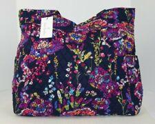 Vera Bradley Pleated Tote Shoulder Handbag Midnight Wildflowers Pattern