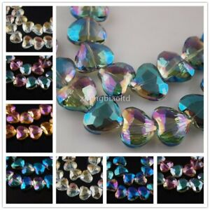 20x16mm Pretty Faceted Crystal Glass Charms Heart Findings Loose Spacer Beads