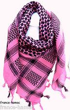 KEFFIEH foulard palestinien ROSE&NOIR  100%coton 100x105 chèche,écharpe, foulard