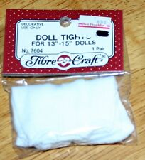 "Fibre Craft DOLL TIGHTS FOR 13""-15"" Dolls - White #7604-01 New in Package"