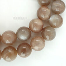 """14 Natural Gray Peach Moonstone Round Beads 14mm w/ Silver Flash 7.8"""" #19390"""