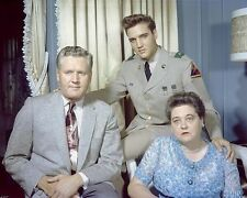 Elvis Presley and Parents Colour 10x8 Photo