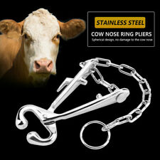 Stainless Steel Cow Nose Clip Ring Pliers Bull Cattle Bovine with Chain Pulling