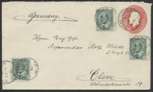 1910 #EN25 2c Edward PSE Uprated, 5c UPU Rate, Vancouver BC to Germany