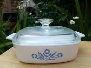 Corning Ware Blue Cornflower 1 Quart Range Oven Microwave Dish with Lid (18cm)