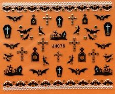 Nail Art 3D Decal Stickers Halloween Bat Coffin Graveyard Cross JH076