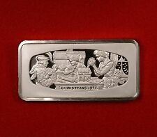 1977 1000 Grain Franklin Mint Ingot of Solid Sterling Silver Christmas