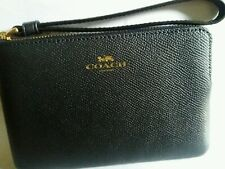 Coach corner zip leather wristlet midnight blue