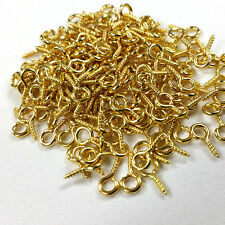 200 PCS - Screw Bail Bead Half Drilled Beads Finding Charm Pendant Gold C0923