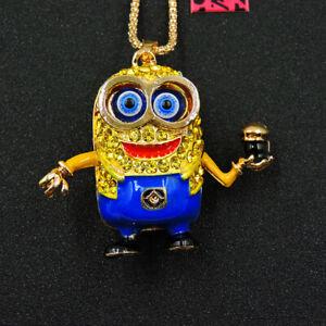 Betsey Johnson Blue Crystal Cartoon Minions Pendant Chain Necklace