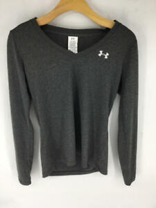 Under Armour Women's Tech Long Sleeve, Carbon Heather /Metallic Silver, X-Small