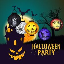 Halloween Paper Lanterns with LED Light Theme Party 6 PCs