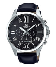 Casio Edifice Men's Quartz Chronograph Black Leather Band 47Mm Watch Efv-500L-1A
