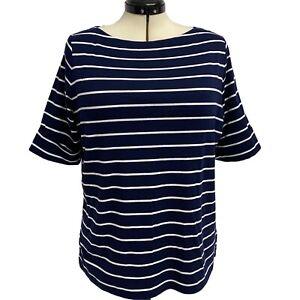 LAUREN Ralph Lauren women's top striped blue short sleeve size 1X