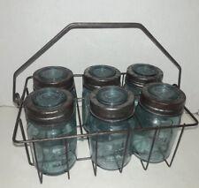 Set of 6 Hill Farm - EH Blue Glass Canning/Mason Jars w glass lids& Wire Basket