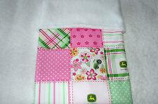 John Deere Pink White & Green Cotton White Fleece Bassinet/Crib Blanket Handmade