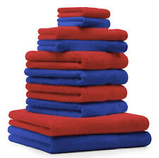 Betz 10-tlg. Handtuch-Set CLASSIC 100% Baumwolle royalblau & rot
