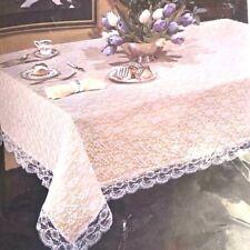 "NEW~ ONE VINTAGE ALENCON LACE TABLE CLOTH & LINER. 66"" x 102"", OBLONG~~ ELEGANT"