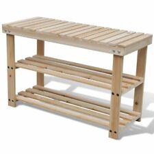 vidaXL 2-in-1 Wooden Shoe Rack With Bench Top Durable Organiser Unit Stand