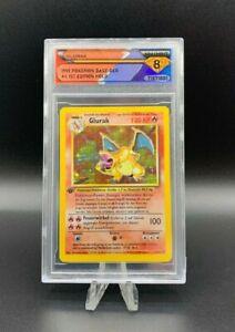 1999 Pokémon Base German CHARIZARD (GLURAK) #4 1st Edition 💎 DSG 8 NM/MINT