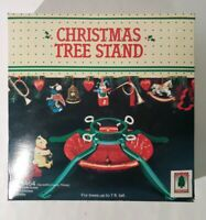Vintage Christmas Tree Stand Red & Green 4-Legs Steel - New Old Stock