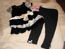 BNWTS Nannette Kids Set, Little Girls 2-Piece Velvety Lace Tunic and Leggings 2T