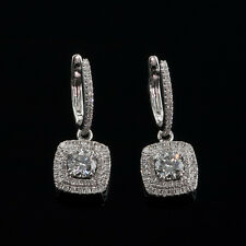 1.85 ct DIAMONDS HALO DESIGN HUGGIE EARRINGS SI CLARITY, G COLOR, 14K WHITE GOLD