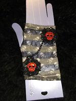 new black gray sequined skull arm warmer fingerless gloves punk 80's inspired