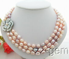 N0804037 3Strds Multi Color Baroque Pearl Necklace-Cameo Clasp