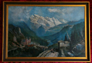 LARGE BEAUTIFUL PANORAMIC LANDSCAPE OF ALPS - OIL PAINTING.