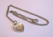 Lovely dainty silver tone metal chain necklace with heart shaped pendant