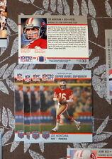 JOE MONTANA SF 49ers 5 card Lot 1990 Pro Set Super Bowl Supermen Card #33