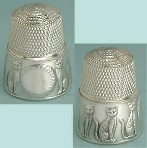 Vintage Sterling Silver Kitty Cat Thimble by Simons Brothers * Circa 1980s