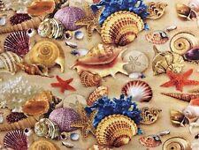 "Beach Sea Shells and Sand Window Curtain Valance  Cotton fabric 42""W x 15""L"