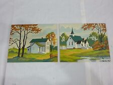 Pr Vtg Paint By Number Painting PBN Church & Home Craft Master 1959