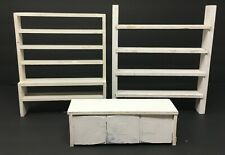 Vintage Lot 3 Dollhouse Miniature White Country Store Wood Shelving Unit Display