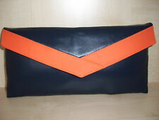 NAVY BLUE & ORANGE faux leather clutch bag, fully lined BN, UK made