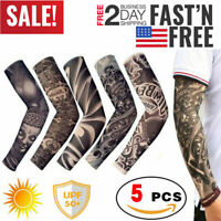 Tattoo Arm Sleeves Cooling Cover Basketball Golf Sport UV Sun Protection 5 pcs