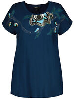 Ulla Popken top blouse plus size 20/22 24/26 32/34 36/38 blue sequins sparkly