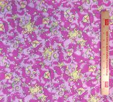 "Kites Clouds Butterflies Suns & Stars Nursery Print  59"" wide Pink BTY"