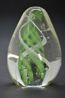 Art Glass Paperweight - Oval - Clear with Green & White Swirls