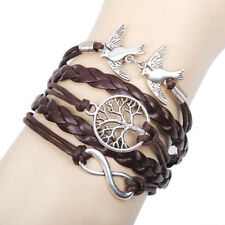 Women's Infinity Anchor Pigeon Friendship Leather Bracelet Wrap Plated Silver