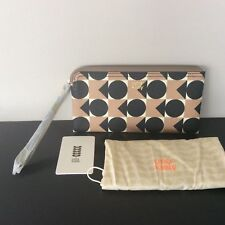 NEW Genuine Orla Kiely Spot Square Triangle Print Zip Wristlet Purse Blush BNWT